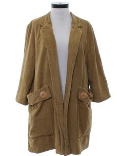 1960's Womens Corduroy Duster Coat Jacket