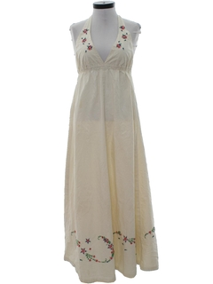 1970's Womens Hippie Halter Maxi Dress