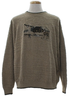 1980's Mens Manly Man Deer Sweater