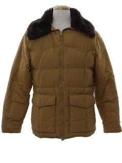 1970's Unisex Goose Down Car Coat Style Ski Jacket