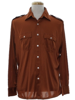1970's Mens Safari Style Solid Disco shirt
