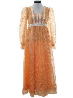1970's Womens Hippie Prairie Cocktail Dress