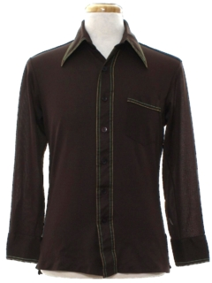 1970's Mens Mod Solid Disco Shirt