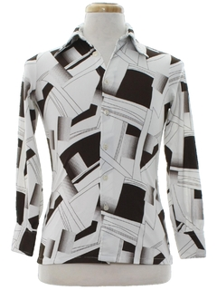 1970's Mens/Boys Abstract Geometric Print Disco Shirt