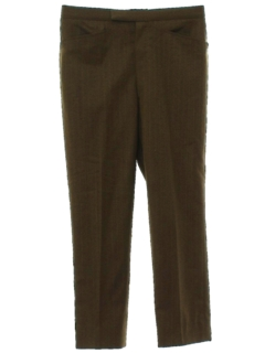 1960's Mens Mod Wool Blend Flant Front Leisure Slacks Pants