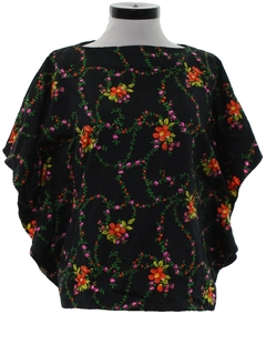 1970's Womens Hawaiian Style Butterfly Hippie Shirt