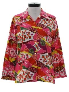 1970's Womens Mod Print Shirt