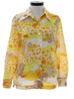1970's Womens Hippie Style Mod Pow-Flower Print Disco Shirt