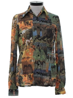 1970's Womens Photo Print Disco Shirt