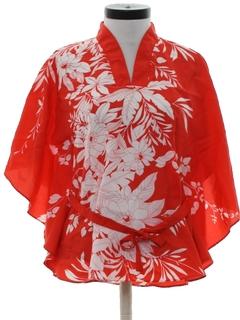 1980's Womens Butterfly Style Hawaiian Shirt