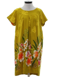 1960's Womens Mod Hawaiian Muu Muu Dress