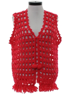 1970's Womens Crocheted Hippie Sweater Vest