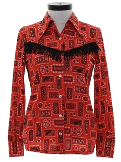 1970's Womens Western Style Print Disco Shirt