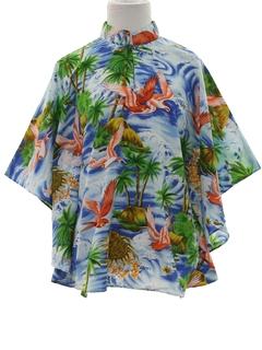 1970's Womens Butterfly Style Hawaiian Caftan Shirt