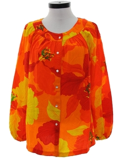 1960's Womens Hawaiian Style Hippie Shirt