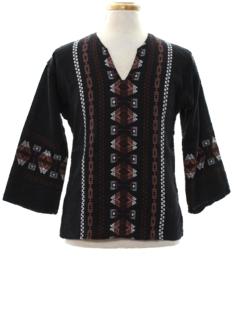 1970's Womens Guatemalan Style Hippie Shirt