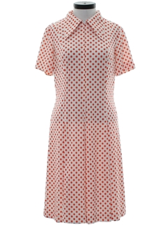 1970's Womens Mod Knit Polka Dot Dress