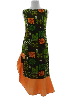 1960's Womens Mod Hawaiian Assymetrical Cocktail Dress