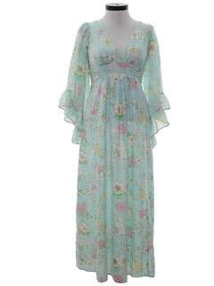 1970's Womens Hippie Cocktail Maxi Dress