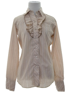 1970's Womens Ruffled Western Shirt