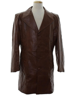 1970's Mens Leather Mod Trench Coat