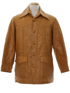 1970's Mens Mod Vinyl Car Coat Jacket