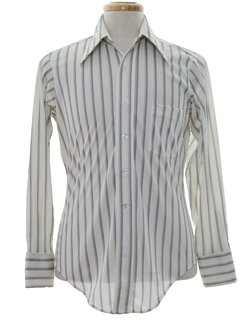 1970's Mens Striped Print Disco Shirt