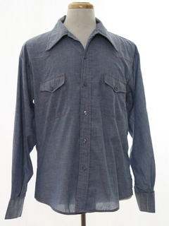 1970's Mens Western Chambray Shirt