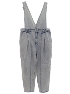 1980's Womens Stone Washed Overall Jeans Denim Pants