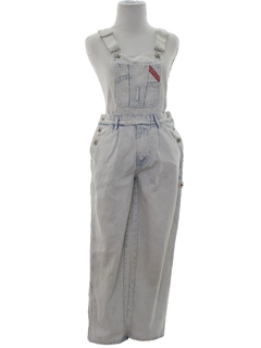 1980's Womens Totally 80s Overall Acid Washed Jeans Denim Pants
