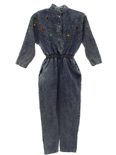 1980's Womens Totally 80s Stone Washed Denim Jumpsuit