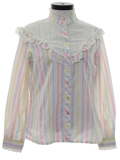 1980's Womens Totally 80s Ruffled Western Shirt