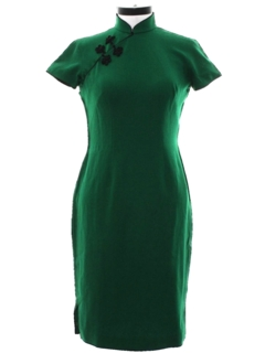 1960's Womens Cheongsam Wiggle Cocktail Dress