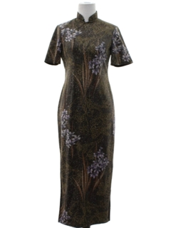 1970's Womens Cheongsam Cocktail Wiggle Dress