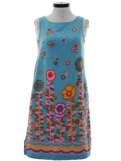 1960's Womens Mod A-Line Print Dress