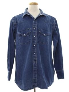 1980's Mens Denim Western Shirt