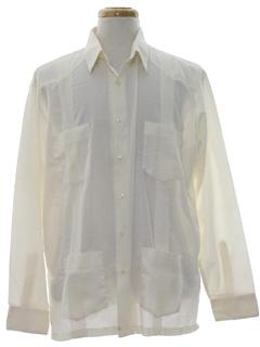 1990's Mens Designer Cuban Style Guayabera Shirt