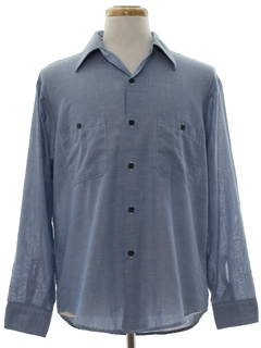 1970's Mens Chambray Work Sport Shirt