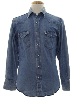 1980's Mens Grunge Denim Western Shirt