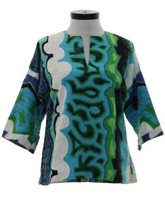 1960's Womens Dashiki Style Hippie Shirt