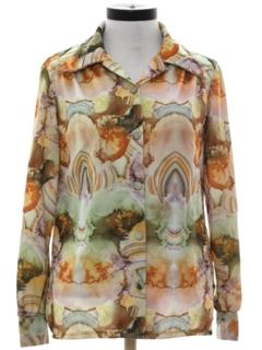 1970's Womens Psychadelic Hippie Print Disco Shirt