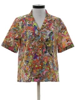 1970's Womens Psychadelic Print Disco Shirt