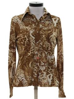 1970's Womens Animal Print Disco Shirt