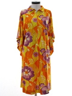 1960's Womens Mod Hippie Lounge Dress