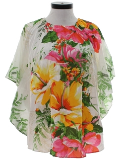 1970's Womens Hippie Style Pleated Butterfly Hawaiian Shirt