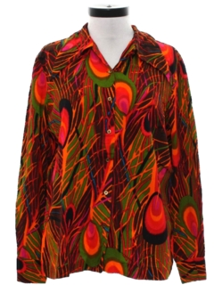 1970's Womens Hippie Style Print Shirt