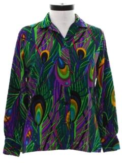 1960's Womens Mod Hippie Style Print Shirt