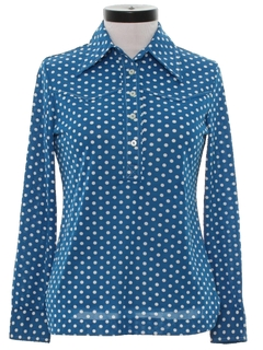 1970's Womens Mod Polka Dot Shirt