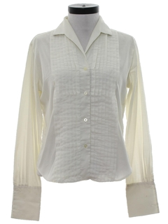 1980's Womens Pleated Tuxedo Style Shirt