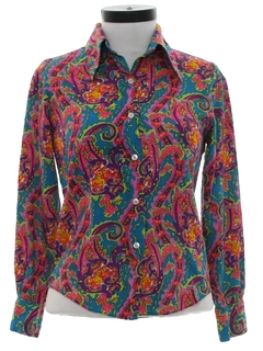 1970's Womens Hippie Style Paisley Print Shirt
